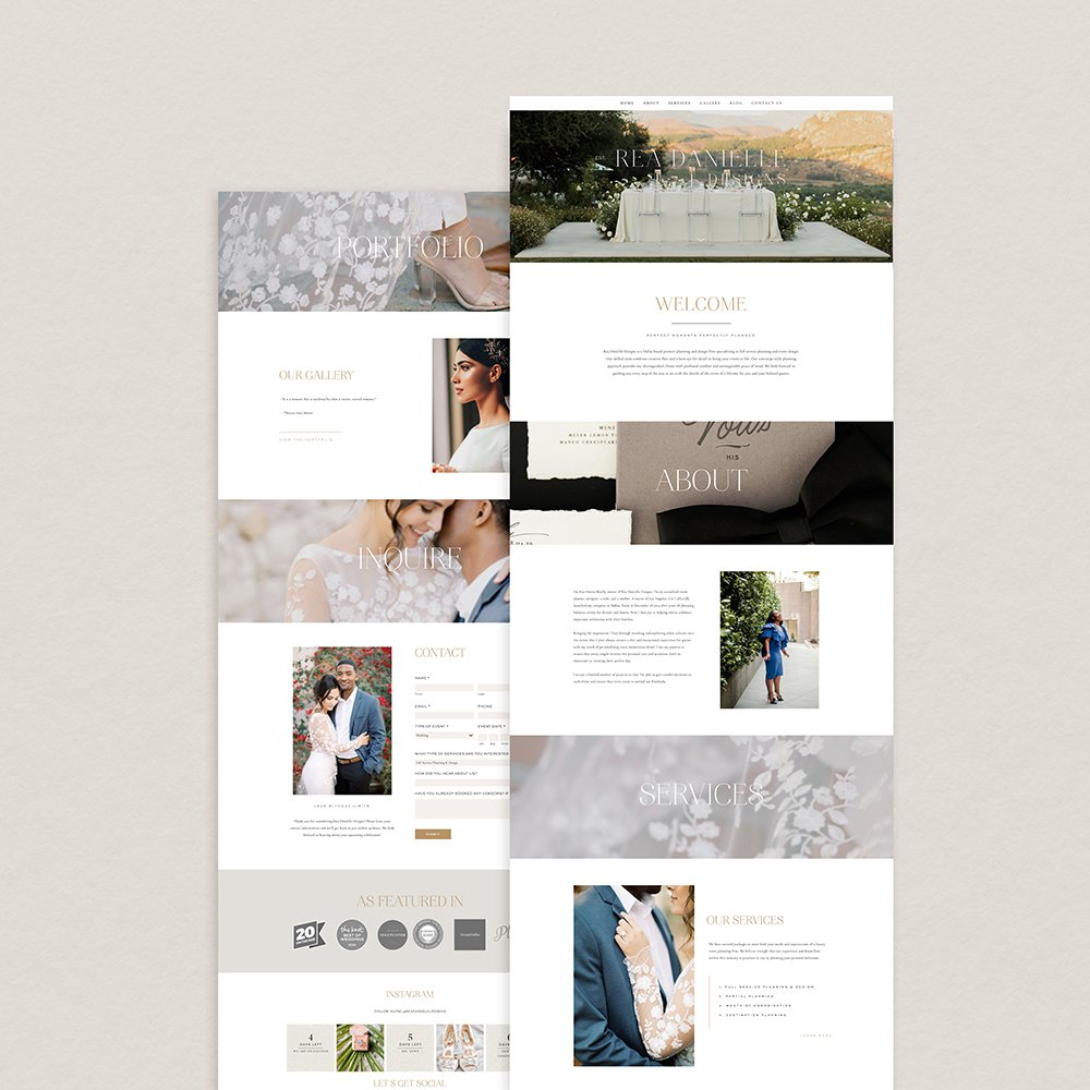 website design for Rea Danielle Designs with a clean, romantic, upscale look.