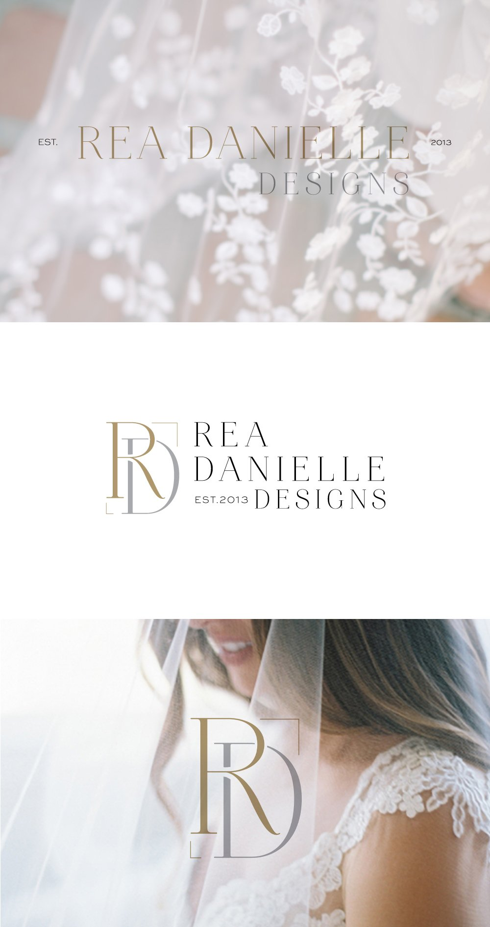 Logo design for Rea Danielle Designs, showing the complete set with variations | luxurious, elegant, timeless logo design for a wedding planner