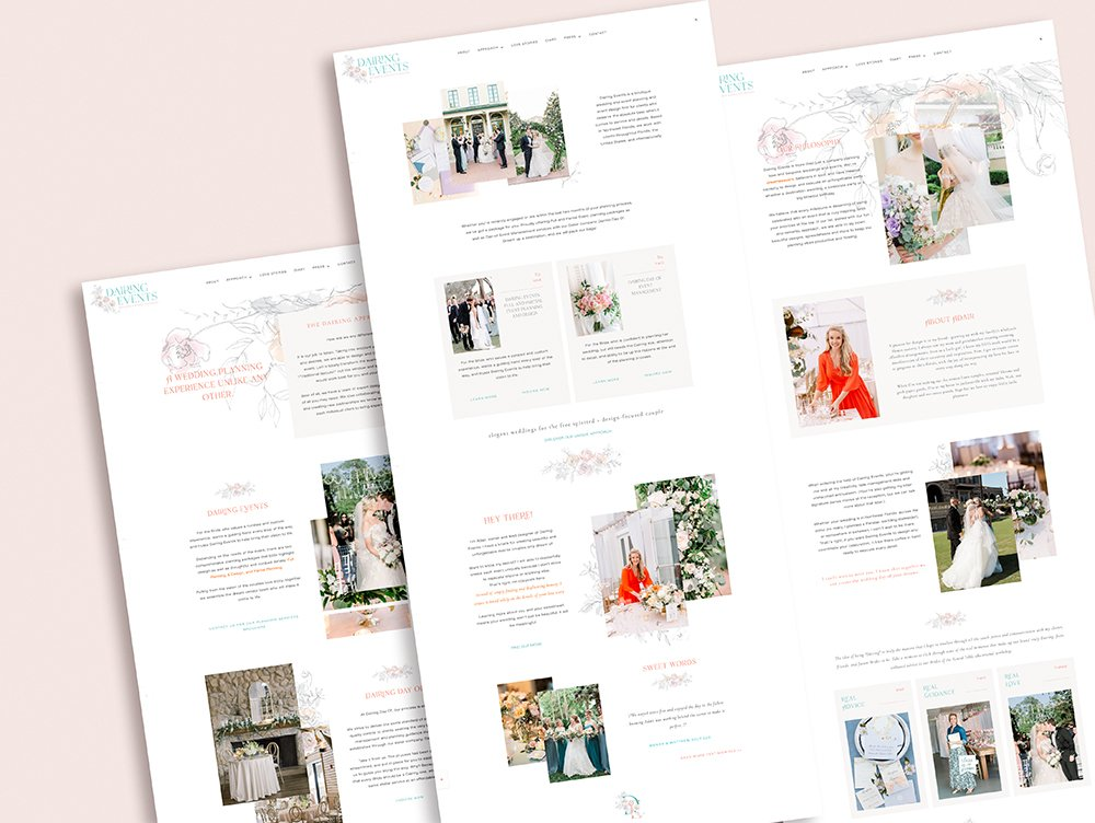website screenshot of wedding planner in Florida Dairing Events,  a feminine & fun website redesigned by Fancy Girl Design Studio