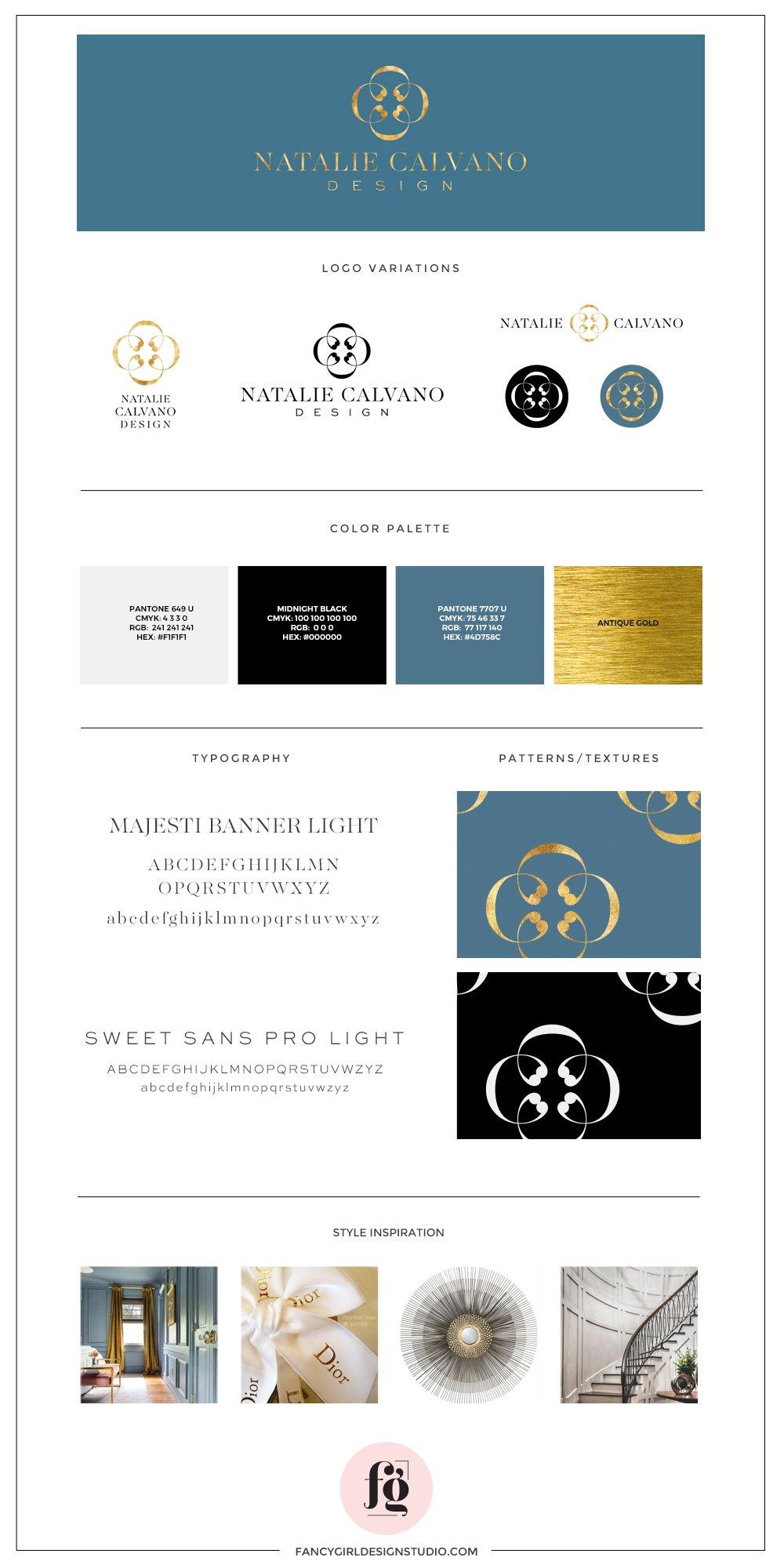 brand style guide for interior designer Natalie Calvano | by Fancy Girl Design Studio