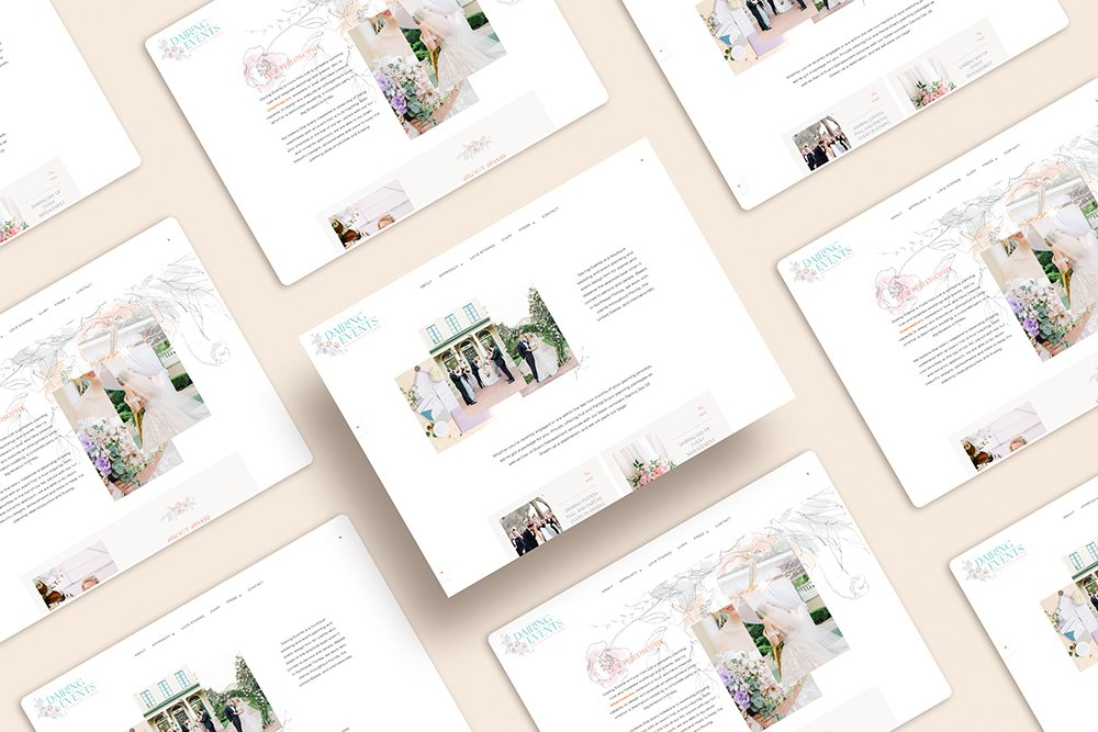 elegant, feminine, and fun homepage for Dairing Events by Fancy Girl Design Studio