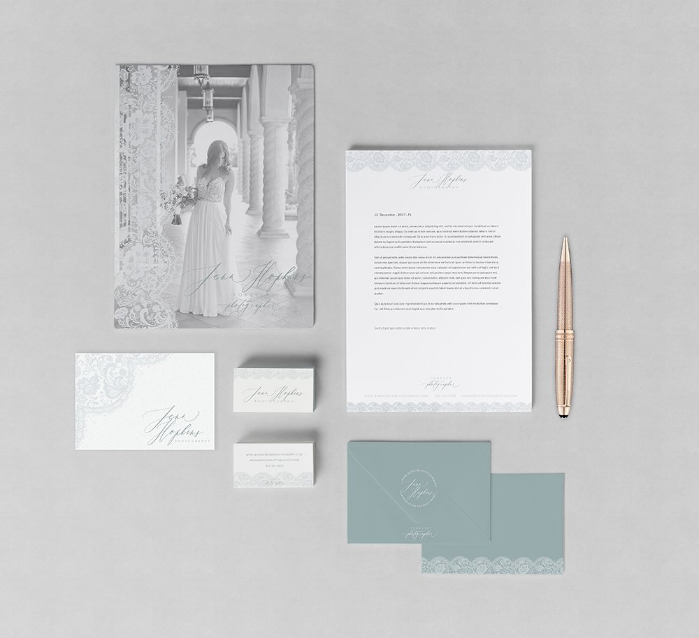 stationery suite design for Jenn Hopkins photography. timeless, romantic, ethereal calligraphy style logo with hand-drawn lace element. designed by fancy girl design studio