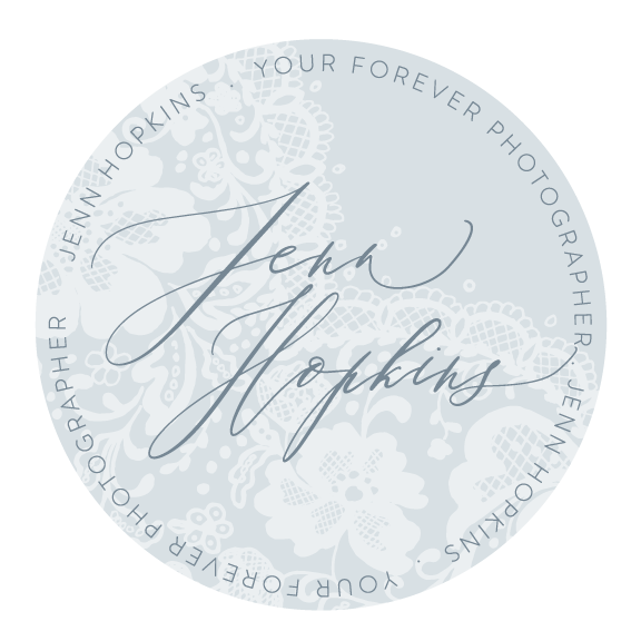 brand identity design for Jenn Hopkins photography. timeless, romantic, ethereal calligraphy style logo with hand-drawn lace element. designed by fancy girl design studio