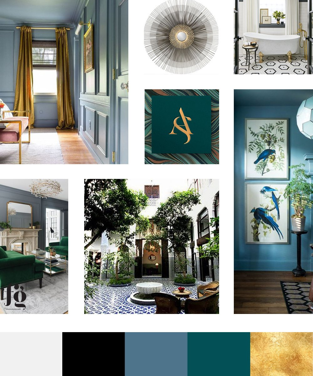 moodboard and color palette for Natalie Calvano Design