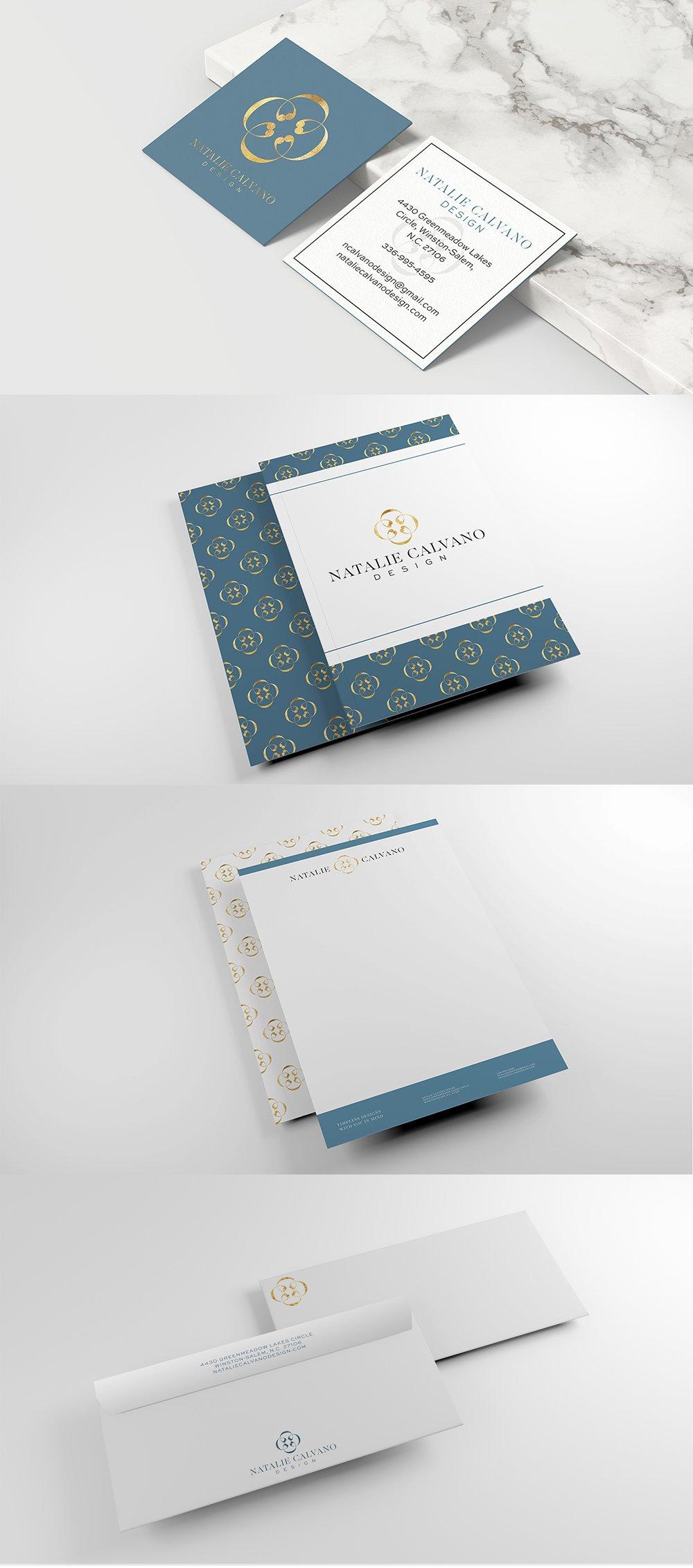 stationery suite design for interior designer Natalie Calvano