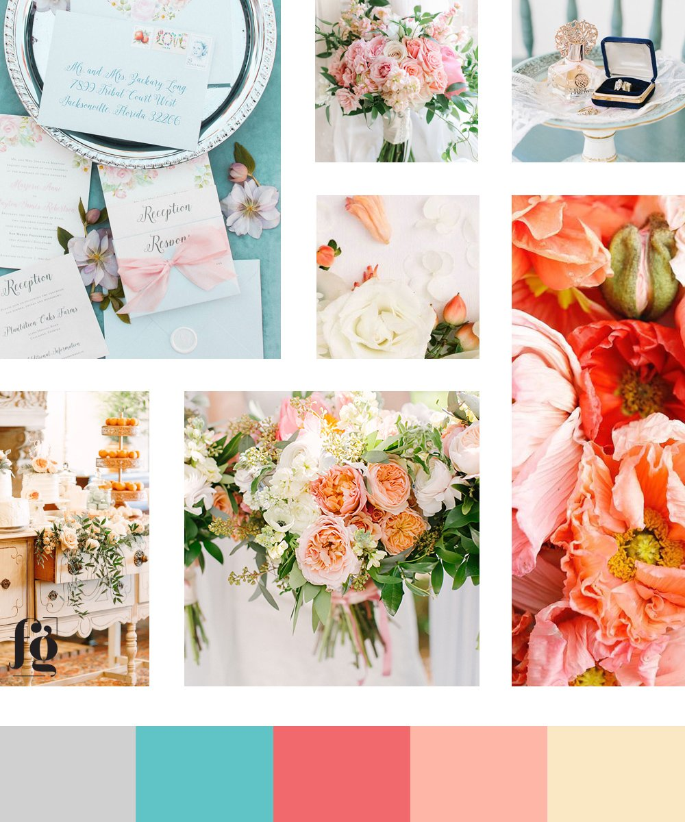 Moodboard and color palette for Dairing Events