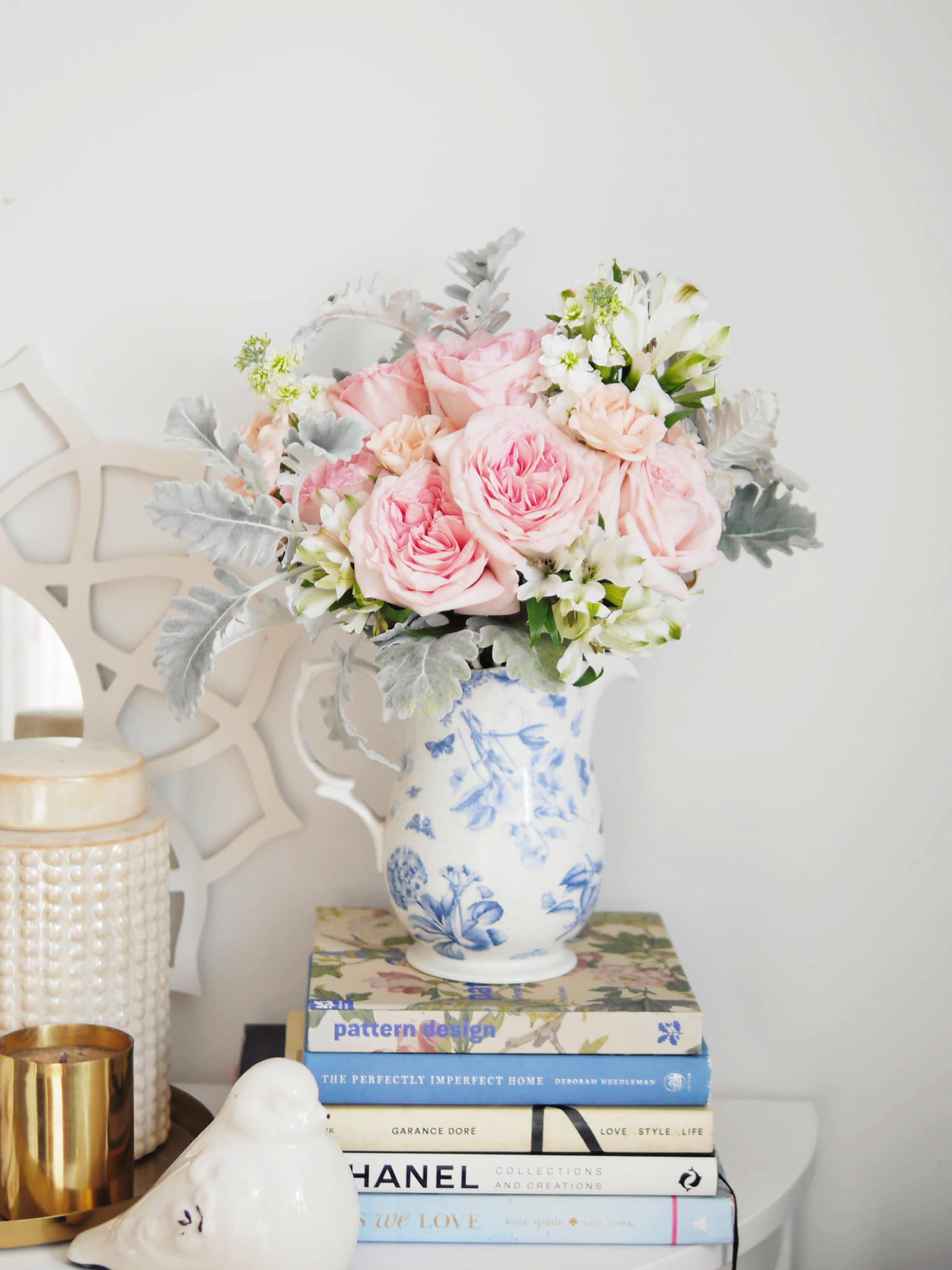 fresh flowers in a blue patterned vase