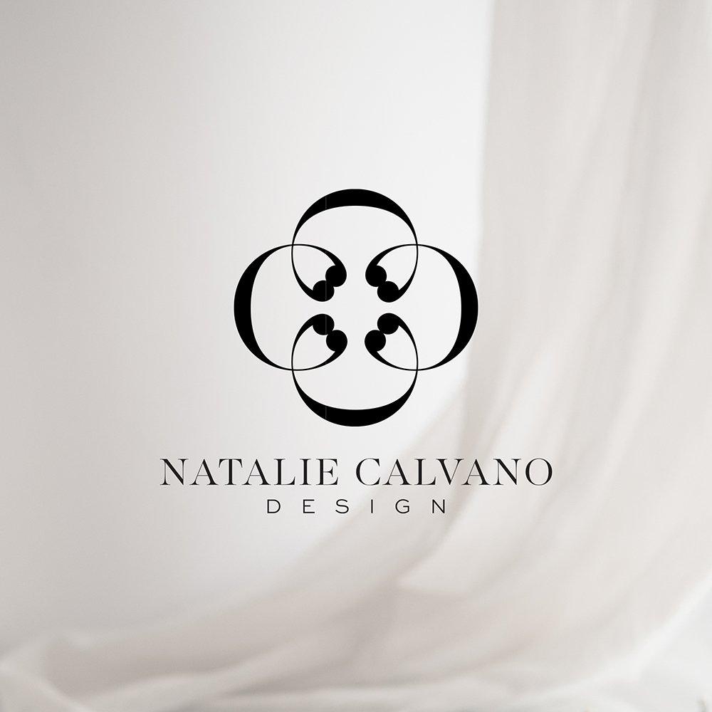 tailored, timeless, polished logo design for interior designer Natalie Calvano, with interlocking C's. designed by Fancy Girl Design Studio