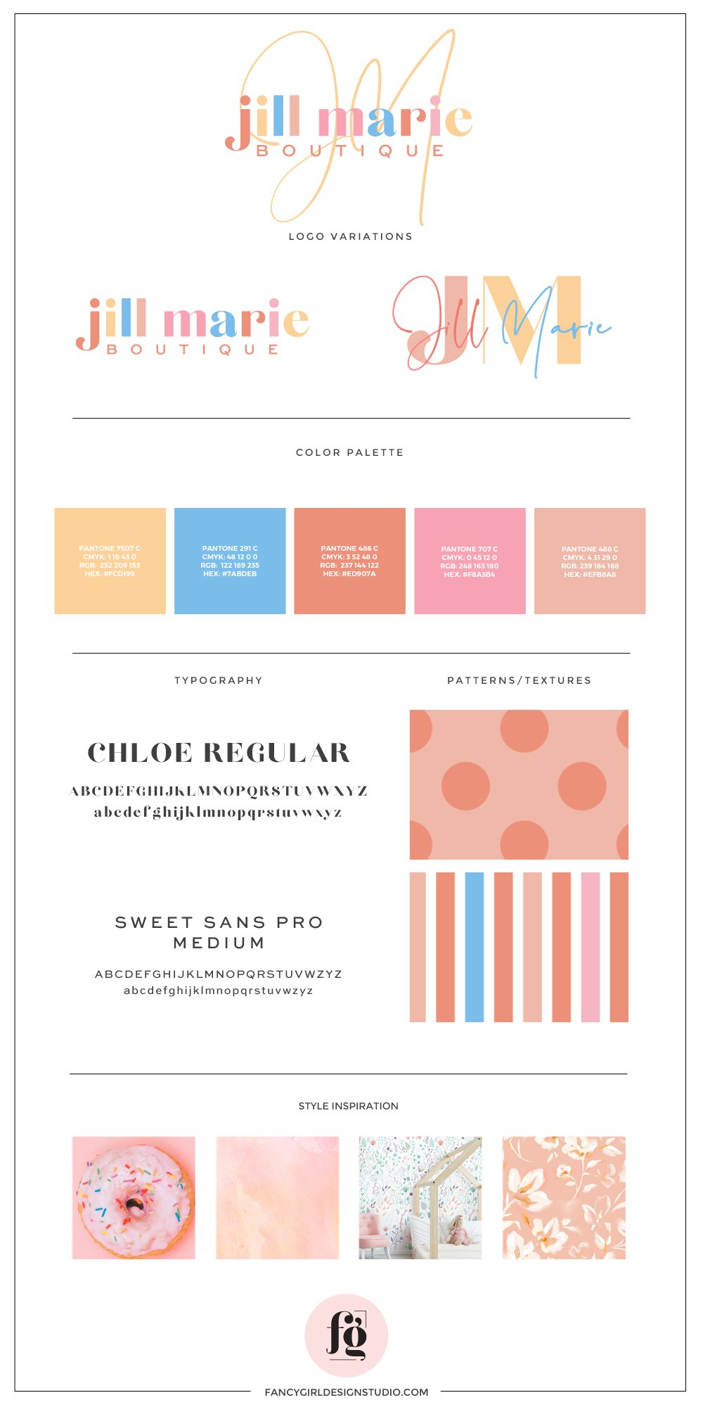 brand guide for Jill Marie Boutique | designed by Fancy Girl Design Studio