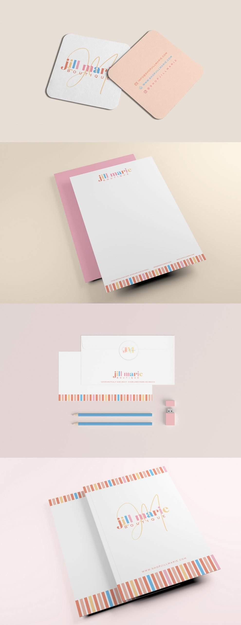 playful and stylish stationery suite design for Jill Marie Boutique