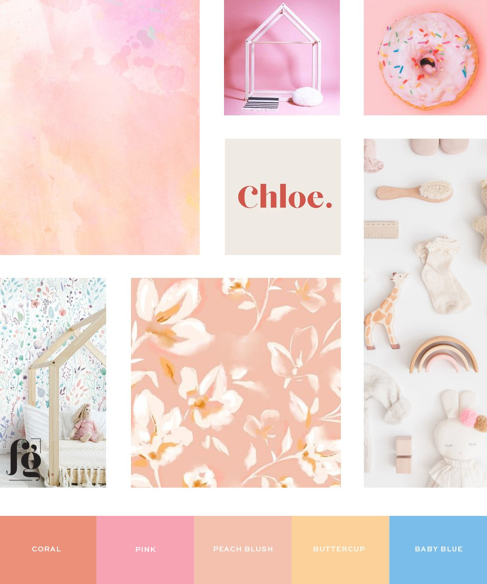 playful and stylish moodboard and color palette for Jill Marie Boutique