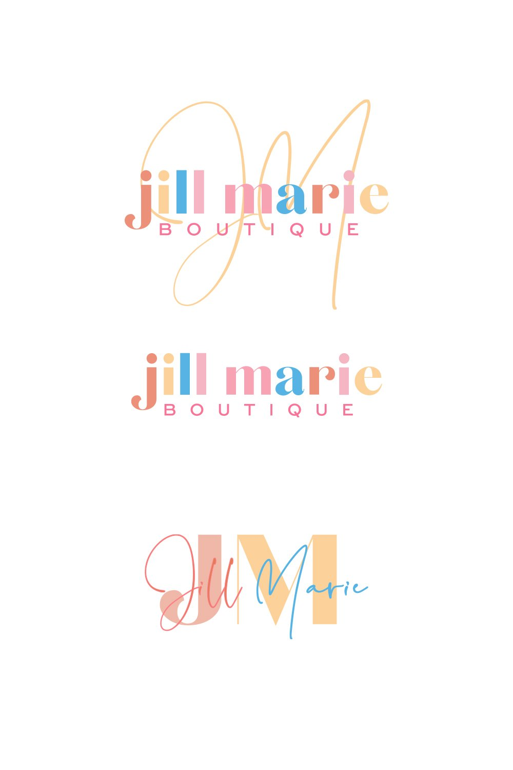 playful and stylish logo design for Jill Marie Boutique by fancy girl design studio