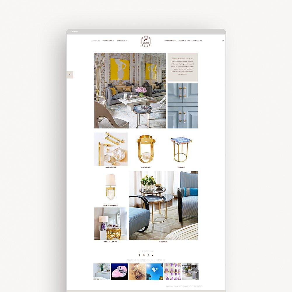 e-commerce website design for Matthew Studios - homepage screenshot