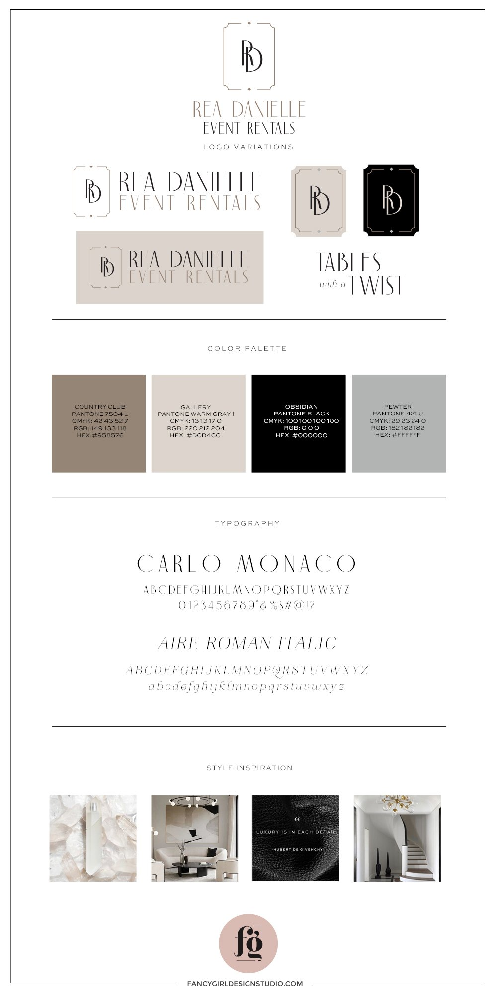 Brand guide for RD Luxury Rentals. elegant & luxurious brand identity design for RD Luxury Rentals by Fancy Girl Design Studio | stylish and sophisticated logo design for an event rental company