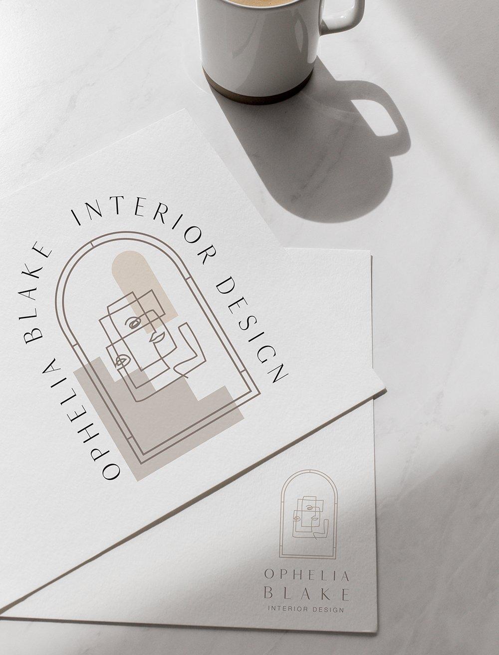 stylish, modern, arty logo design for Ophelia Blake Interior Design, a fine art interior design firm in London