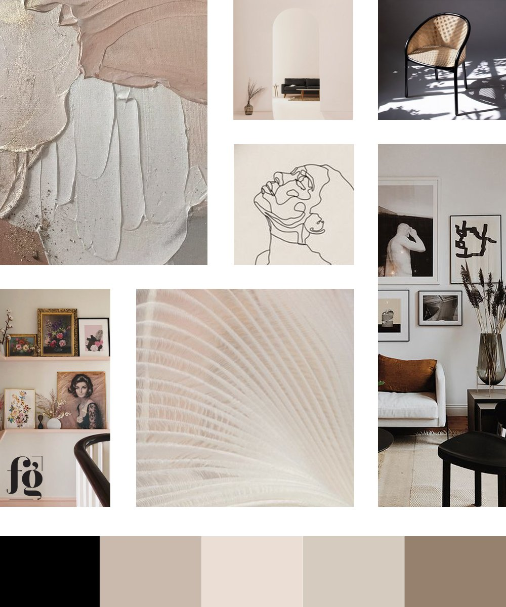 moodboard for Ophelia Blake Interior Design featuring a modern, arty vibe, with a timeless netural palette. designed by fancy girl design studio