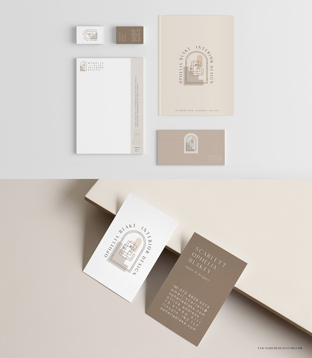 brand collaterals for Ophelia Blake Interior Design by Fancy Girl Design Studio