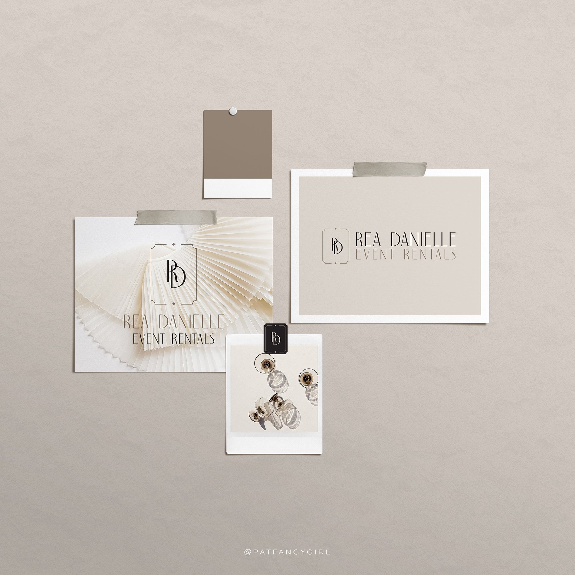 elegant & luxurious brand identitiy design for RD Luxury Rentals by Fancy Girl Design Studio | stylish and sophisticated logo design for an event rental company