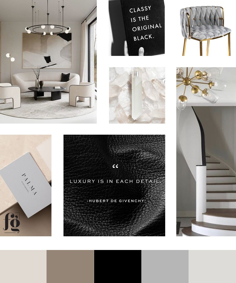 elegant & luxurious moodboard and color palette for RD Luxury Rentals by Fancy Girl Design Studio