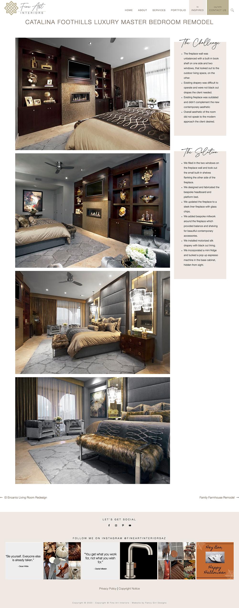 portfolio page sample, from Fine Art Interiors