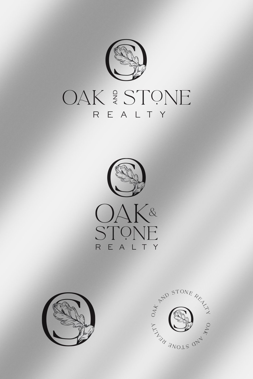 luxurious, professional logo design for Oak and Stone Realty