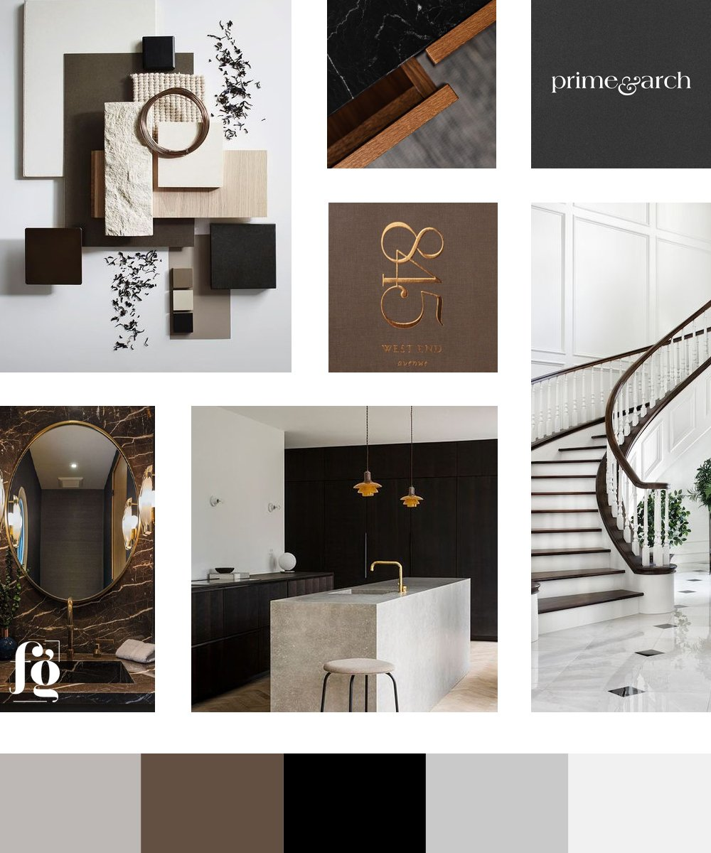 moodboard and color palette for Oak & Stone Realty