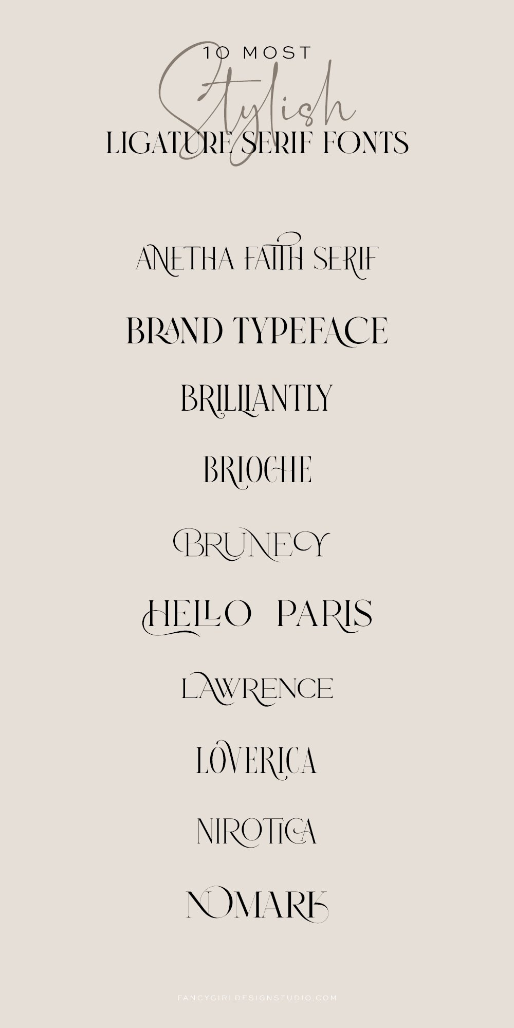 top 10 most stylish ligature serif fonts for branding