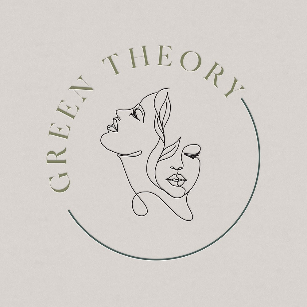 natural and refined logo design with custom illustration for  Green Theory Skincare by Fancy Girl Design Studio