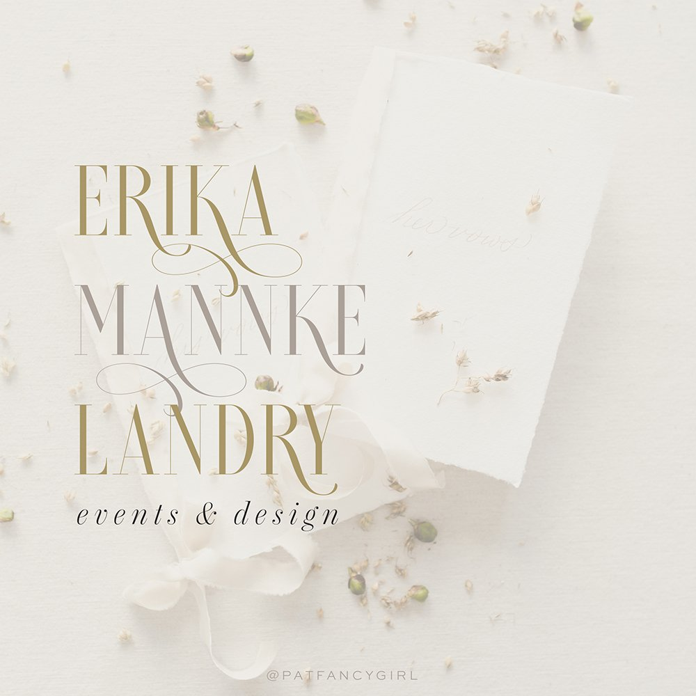 Loverica font actual use in logo mockup for Erika Mannkle Landry Events