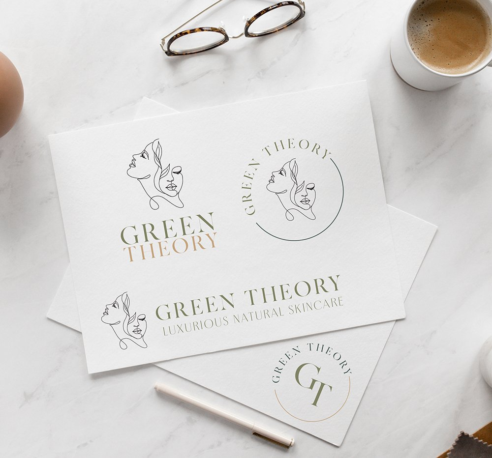 natural and refined logo design for  Green Theory Skincare by Fancy Girl Design Studio