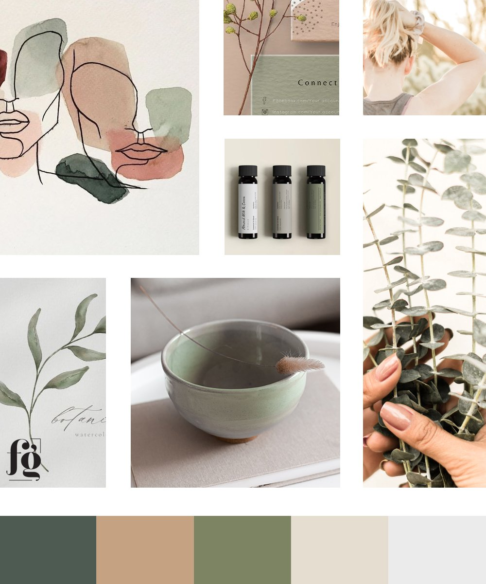 natural and refined earthtones in the moodboard and color palette for Green Theory Skincare by Fancy Girl Design Studio