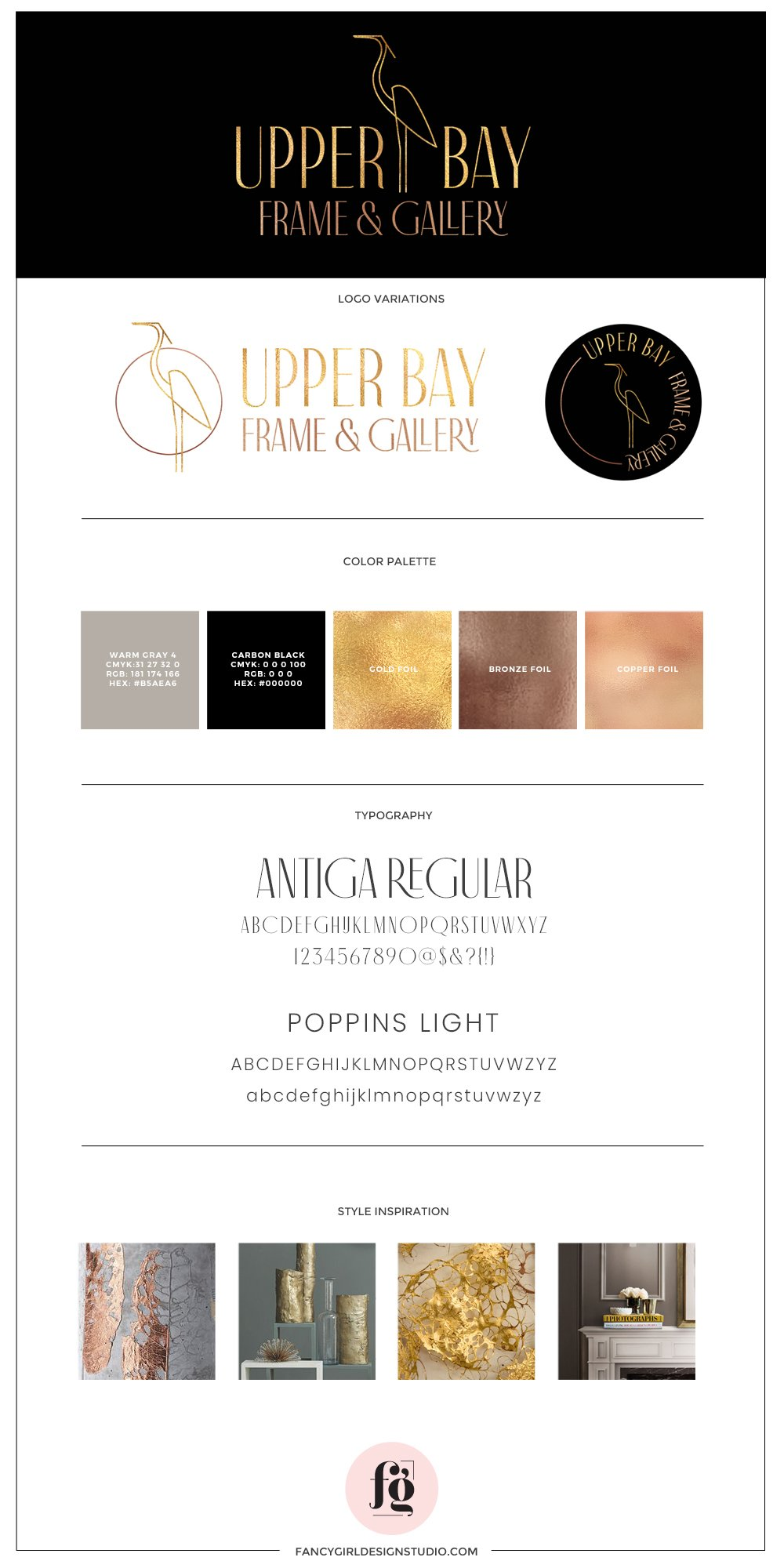 brand guide for UpperBay Frame & Gallery with a mix of metallics and neurals