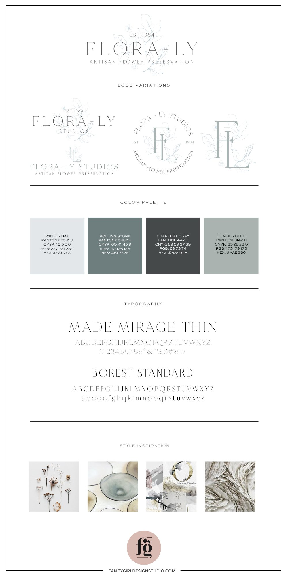 brand guide for Flora-Ly Studios with a traditional, classic, delicate overall look