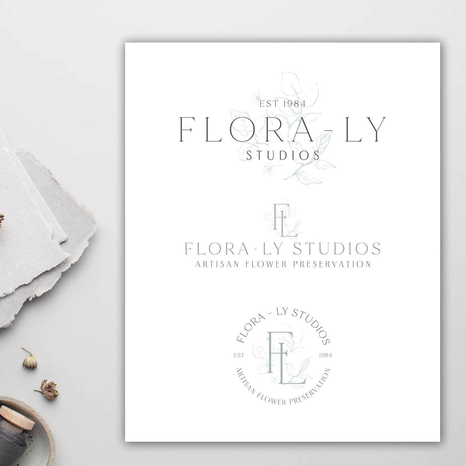 refined, creative, traditional, timeless style in the logo design for Flora-Ly Studios | with handdrawn floral elements