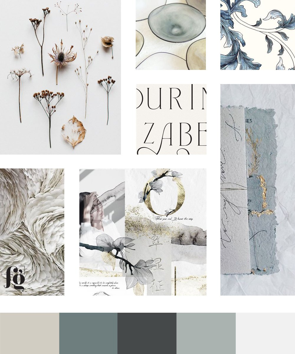 refined, traditional, timeless style in this moodboard and color palette for Flora-Ly Studios