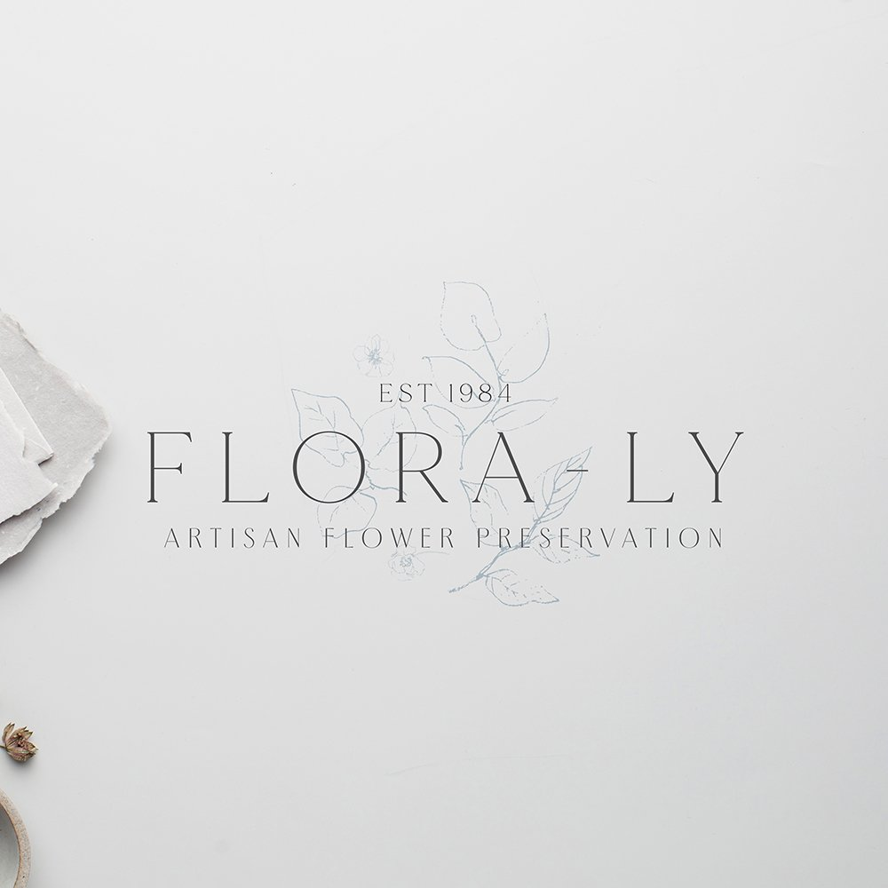 traditional, classic, delicate logo design for Flora-Ly artisan flower preservation