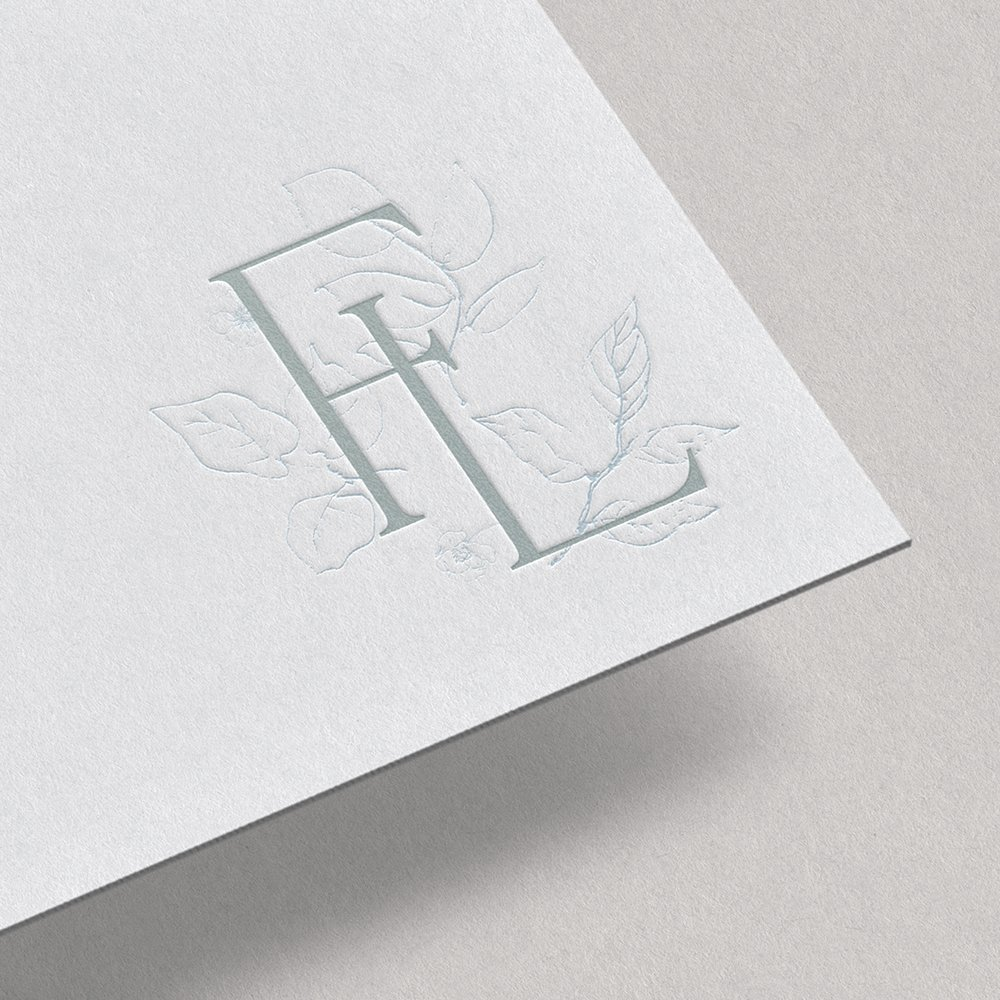 traditional, classic, delicate monogram design for Flora-Ly artisan flower preservation