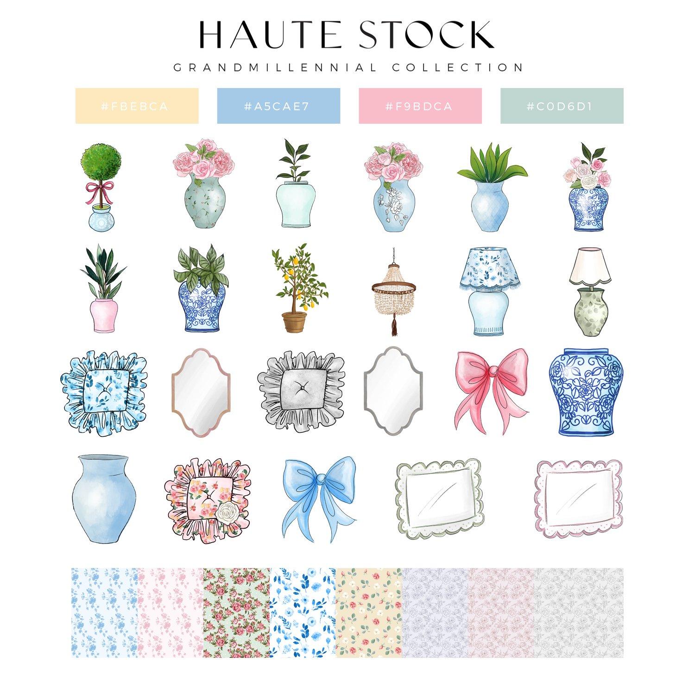 Haute Stock grandmillennial graphics collection