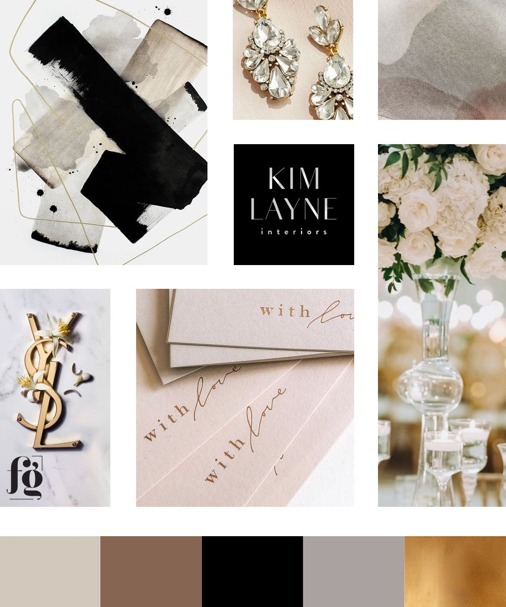 moodboard and color palette for Elle Audrey New York - luxury wedding planner