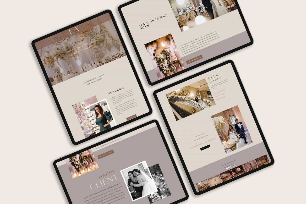 modern, stylish website design for Elle Audrey, luxury wedding planner in New York City by Fancy Girl Design Studio