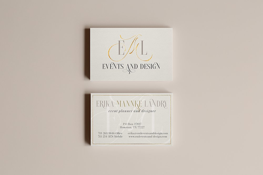 EML Events and Design business cards - elegant, refined, sophisticated brand design for a top wedding planner in Texas | Designed by Fancy Girl Design Studio