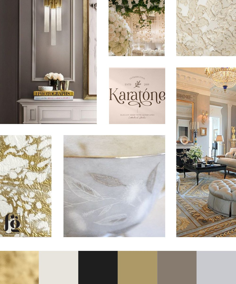 stylish, sophisticated, and elegant moodboard and color palette for Erika Mannke Landry Events