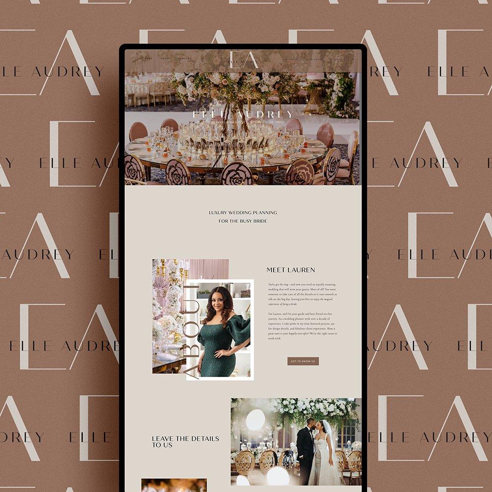 modern, stylish website design for Elle Audrey, luxury wedding planner in New York City