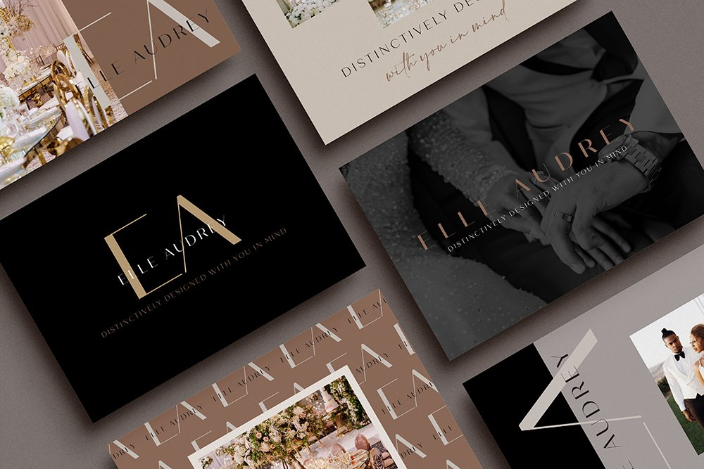 modern, stylish brand identity design for Elle Audrey, luxury wedding planner | by Fancy Girl Design Studio