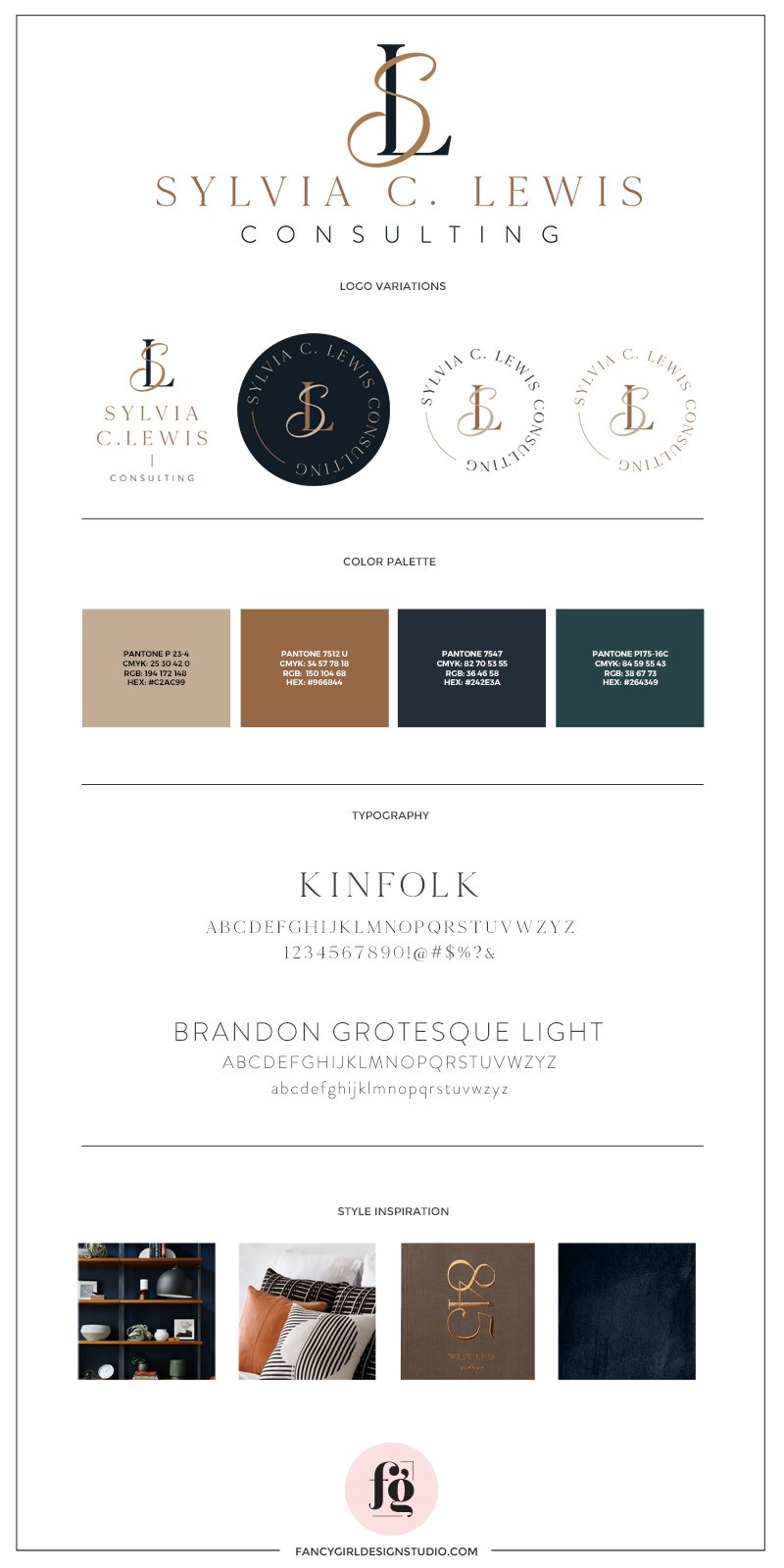 Brand Style Guide for Sylvia Lewis Consulting   showing logo variations, palette, typography, and style inspiration   warm, professional, nurturing
