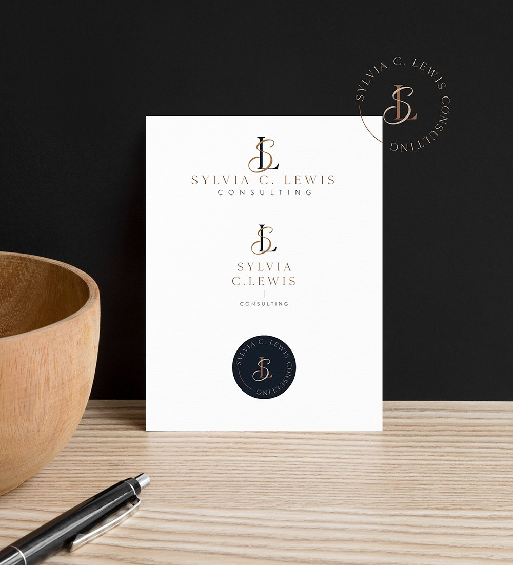 Logo variations for Sylvia Lewis Consulting   warm, professional, nurturing