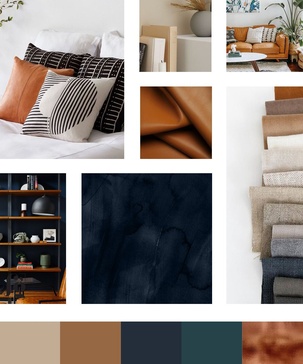moodboard and color palette for Sylvia Lewis Consulting, with autumn tones reflecting warmth, nurture, and authenticity