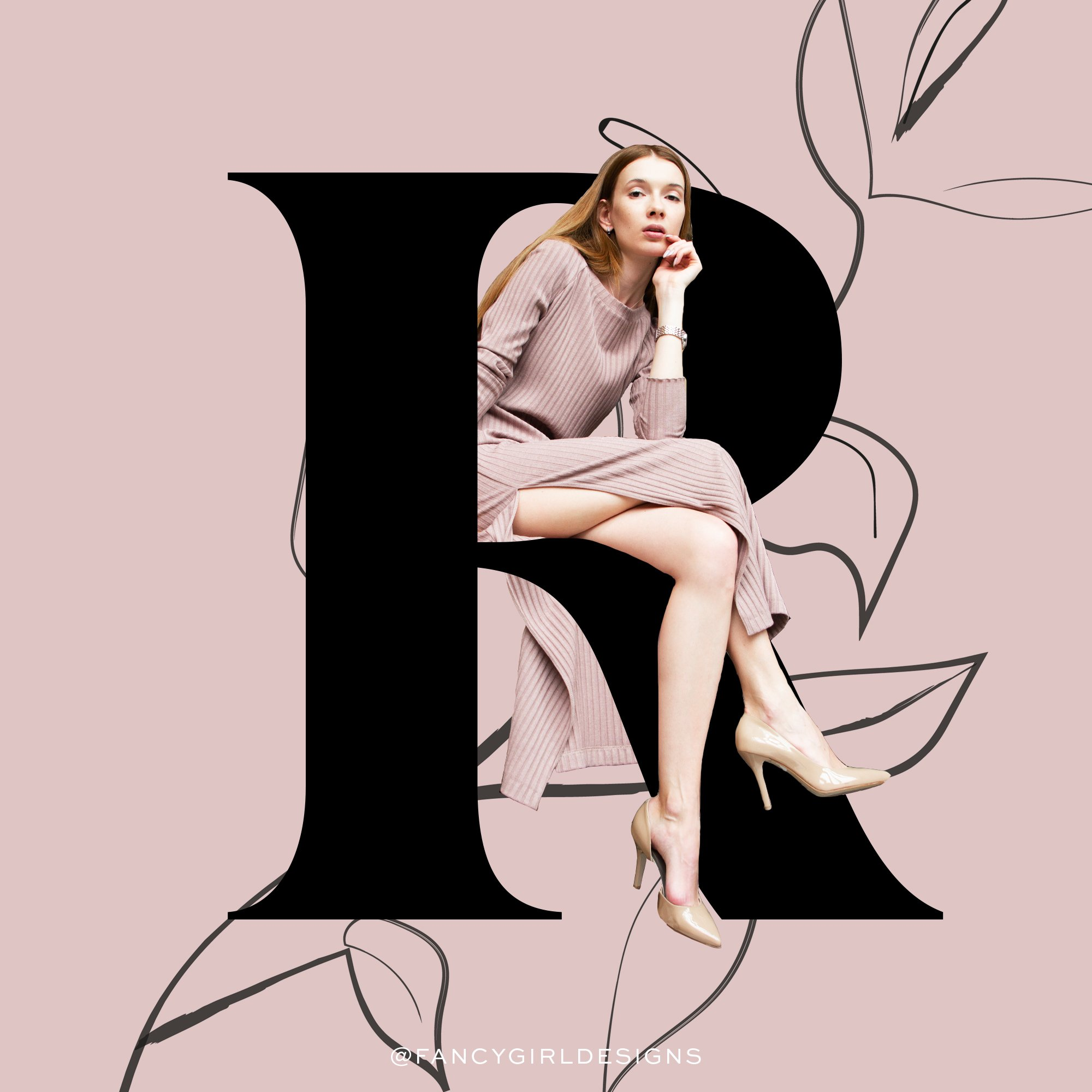 fashion typography, letter R, by Fancy Girl Design Studio