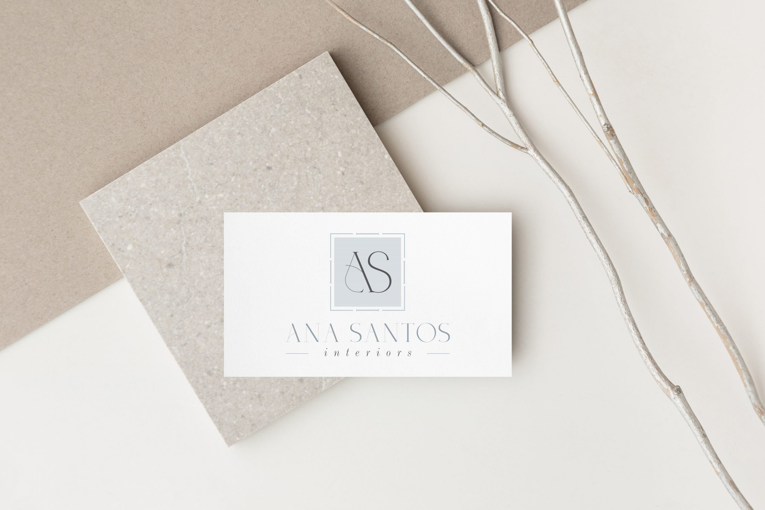 Logo design for Ana Santos Interiors by Fancy Girl Designs | accessible luxury for an interior design brand with modern creative touches