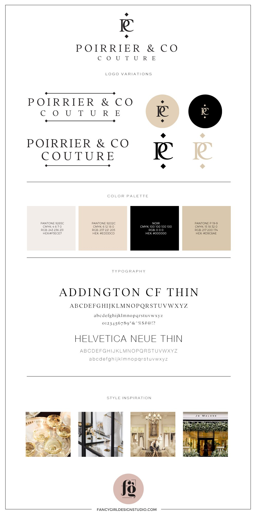 Brand Style Guide for Poirrier & Co Couture - Design by Fancy Girl Design Studio | elegant, timeless, yet bold enough to make a statement